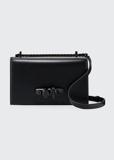 Jeweled Calf Satchel Bag