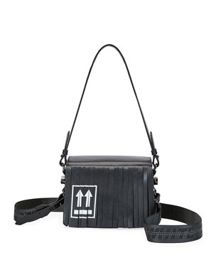 Off-White Fringed Leather Flap Shoulder Bag