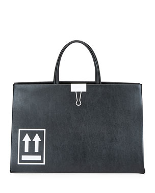 Off-White Medium Leather Box Tote Bag