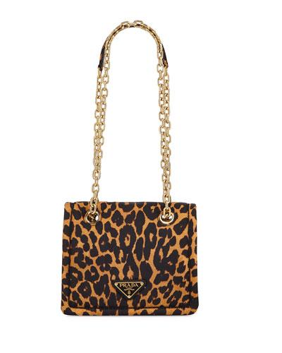 Leopard-Print Nylon Crossbody Bag