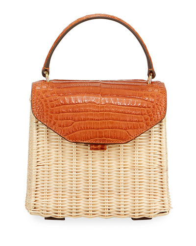 Lily Mini Crocodile & Wicker Top-Handle Bag