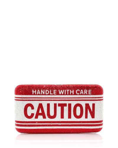 Crystal Fragile Caution Clutch Bag