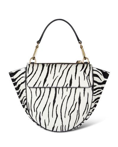 Hortensia Mini Zebra-Print Top Handle Bag