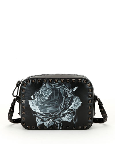 Rockstud Undercover Print Leather Crossbody Camera Bag