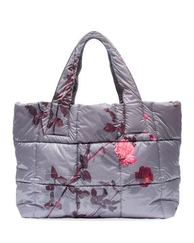 Floral-Print Large Puffer Tote Bag