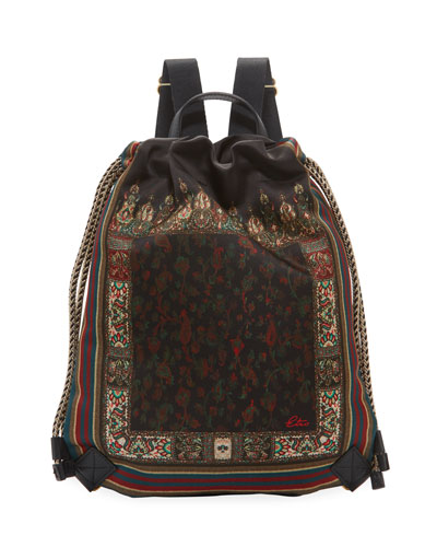 Mini Floral Satin Cinch Backpack