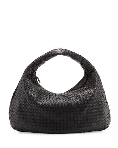 Veneta Intrecciato Large Hobo Bag  Black