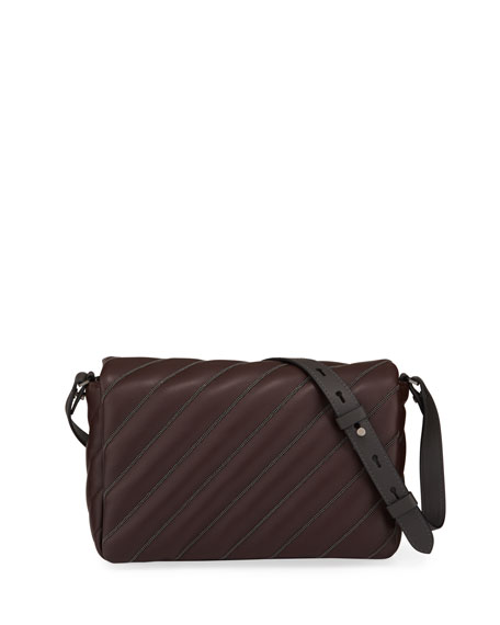 Quilted Leather Crossbody Bag with Monili