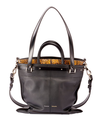PS19 Small Leather and Snakeskin Crossbody Bag
