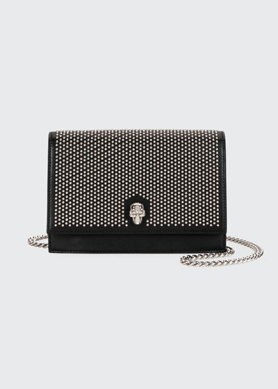 Small Micro-Studded Flap Crossbody Bag with Skull