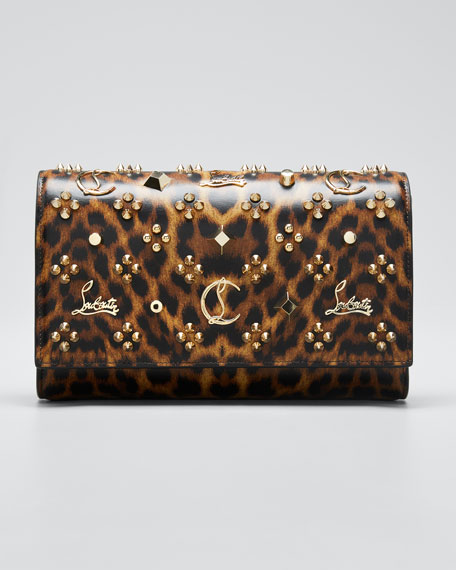 Paloma Leopard Patent Clutch Bag