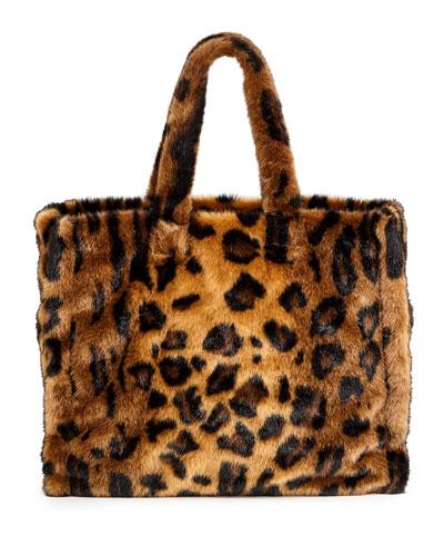 Lola Leopard Faux-Fur Tote Bag
