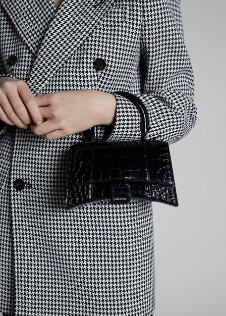 Hour XS Crocodile-Embossed Top Handle Bag
