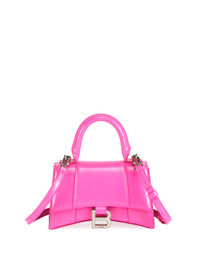 Hour XS Neon Shiny Box Calf Top Handle Bag