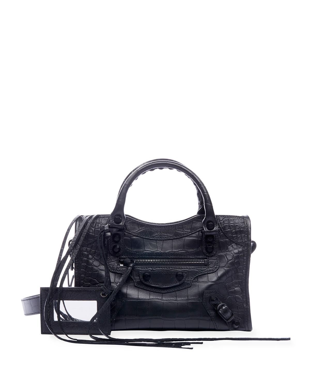 Aj Classic Mini Croc Embossed Satchel Bag by Balenciaga
