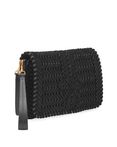 The Neeson Velvet Ribbon Crossbody Bag  Black
