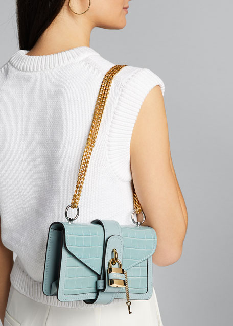 Aby Mini Croco Leather Shoulder Bag