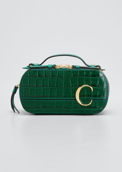 C Multi Crocodile-Embossed Crossbody Bag