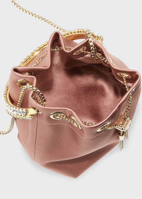 Bon Bon Satin Top Handle Bag with Crystals