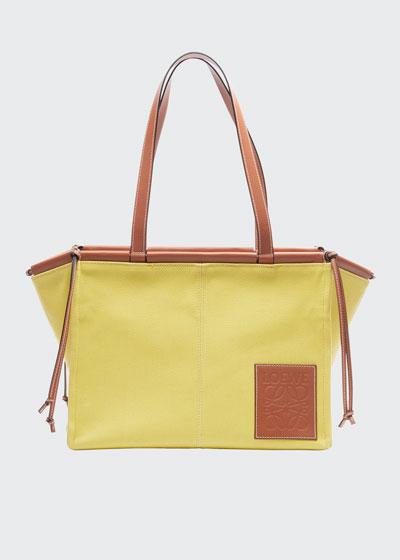 Cushion Two-Tone Leather Tote Bag