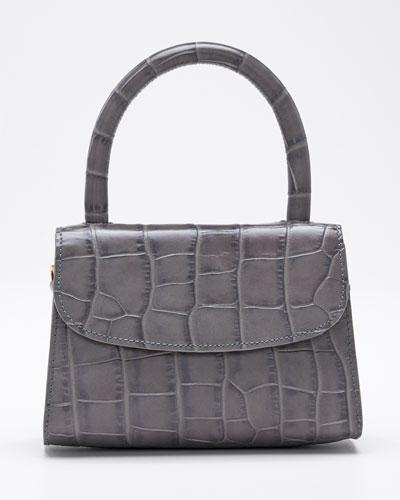 Mini Croc-Embossed Top Handle Bag