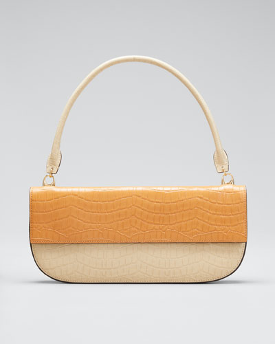 Two-Tone Embossed Leather Shoulder Bag