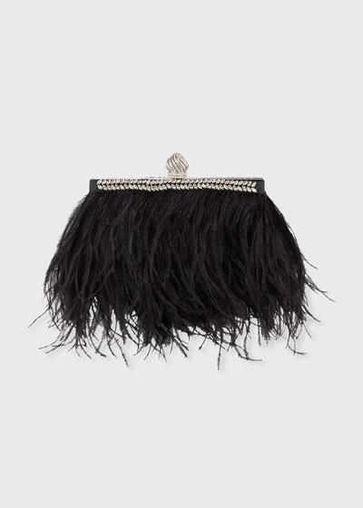 Celeste Ostrich Feather Clutch Bag
