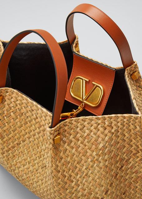 VLOGO Raffia Medium Tote Bag