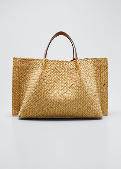 VLOGO Raffia Medium Tote Bag