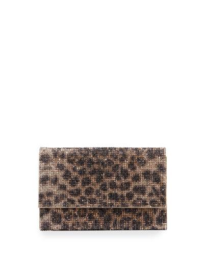 Fizzoni Leopard Clutch Bag with Crossbody Strap