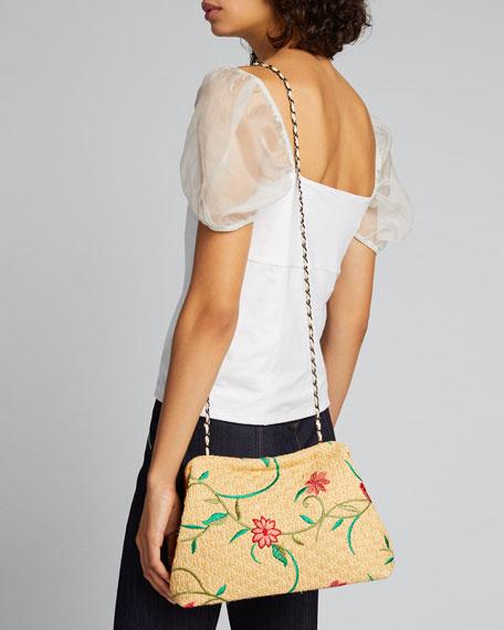 Vague Small Floral-Print Raffia Clutch Bag