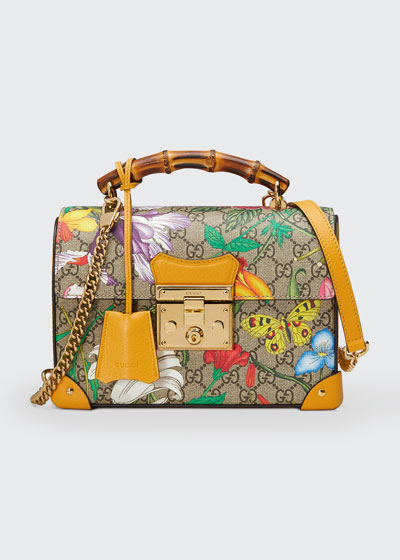 Padlock Small Flora GG Supreme Bamboo Top-Handle Shoulder Bag