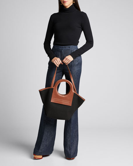 Cala Two-Tone Canvas Small Tote Bag