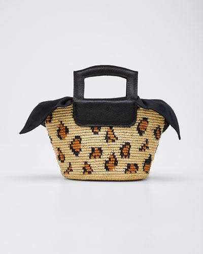 Leopard-Print Straw Tote Bag