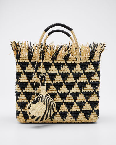 Mexicana Piramides Woven Straw Tote Bag