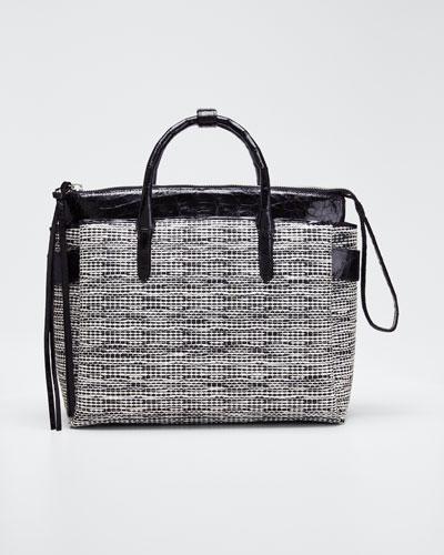 Cristie Medium Linen Crocodile Tote Bag