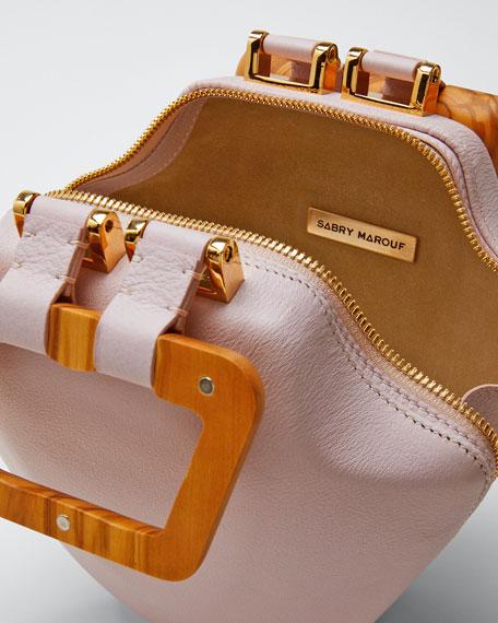 Leather Micro Tut Top Handle Bag, Pink