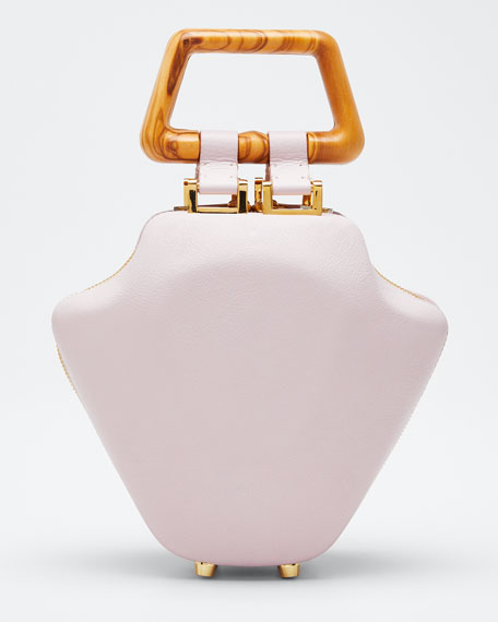 Image 1 of 1: Leather Micro Tut Top Handle Bag, Pink