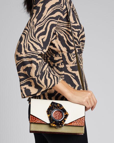 Stamped Croc and Leather Shoulder Bag