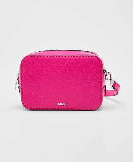 Image 1 of 1: Leather Zip Camera Crossbody Bag