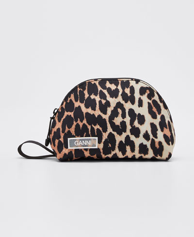 Nylon Leopard Mini Cosmetic Bag