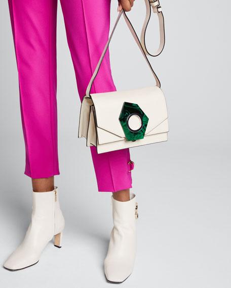 Leather Shoulder Bag with Applique