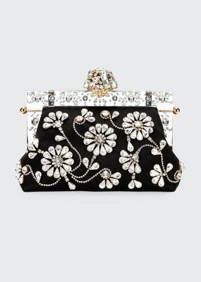 Christmas Raso Ricamo Clutch Bag