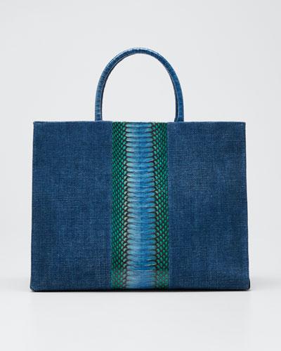 Double-Handle Linen Large Tote Bag