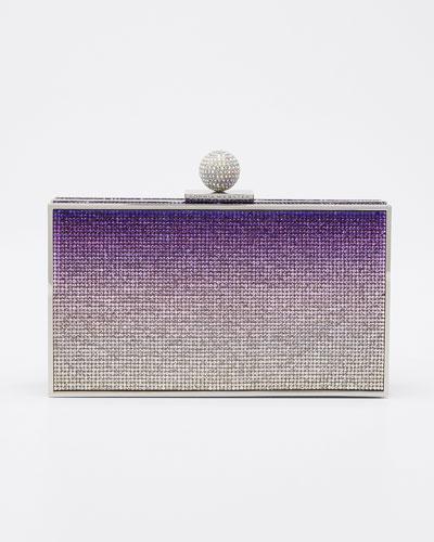 Clara Crystal Box Clutch Bag  Purple Pattern
