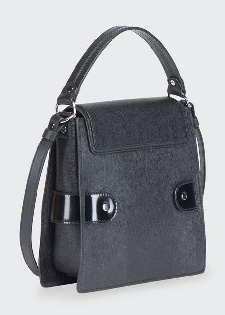 Buckle Trapeze Grainy Shoulder Bag