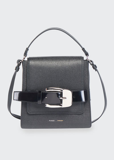 Buckle Trapeze Grainy Shoulder Bag