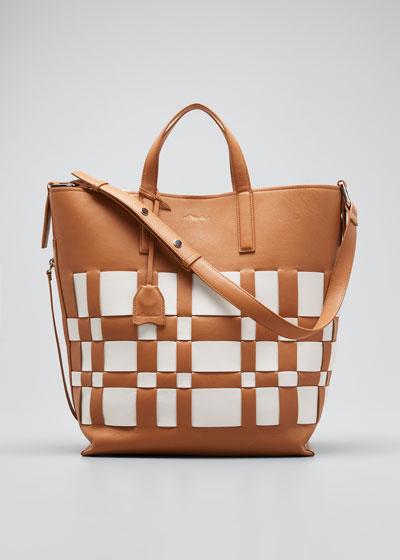 Odita Lattice Leather Shopper Tote Bag