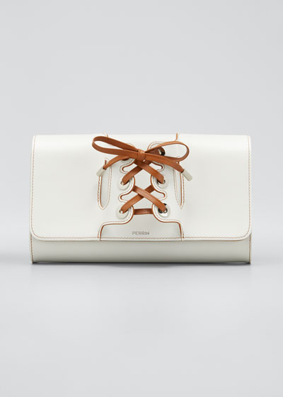 Lolita Leather Clutch Bag with Lace-Up Glove Handle