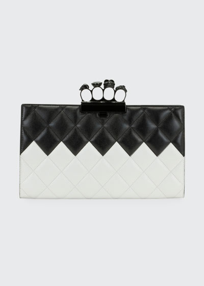 Two-Tone Four-Ring Quilted Clutch Bag